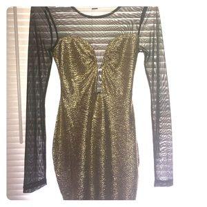 Gold Metallic Sheer Mini Dress
